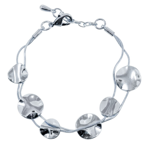 Bisoux Rodium Plated Multi Strand Bracelet with Hammered Discs